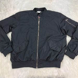 H&M Black Satin Zip Front Bomber Jacket